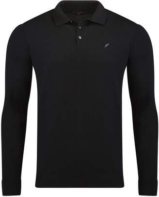 Benedict Raven Henley Long Sleeve Polo Black