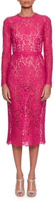 Dolce & Gabbana Long-Sleeve Jewel-Neck Fitted Lace Midi Dress
