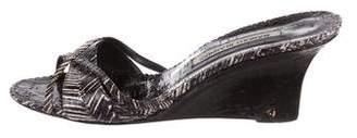 Manolo Blahnik Printed Snakeskin Wedges