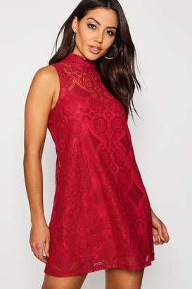boohoo Lace High Neck Shift Dress