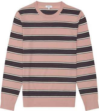 Reiss Samuels - Wool Striped Crew Neck Jumper in Pink