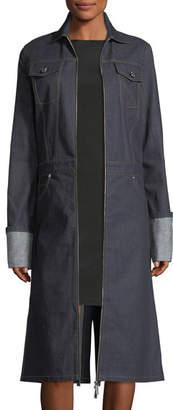 Helmut Lang Zip-Front Denim Trench Coat
