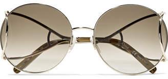Chloé Jackson Round-frame Gold-tone Sunglasses