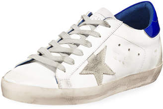 Golden Goose Superstar Leather Low-Top Platform Sneakers, White/Blue