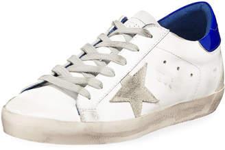 Golden Goose Superstar Leather Low-Top Platform Sneakers, White/Blue