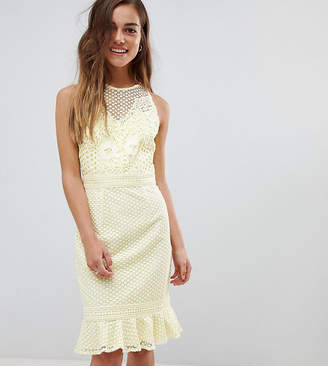 Little Mistress Petite petite lace applique shift dress with peplum hem in lemon