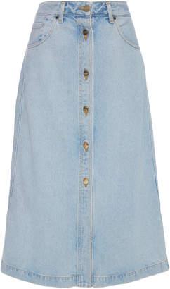 Gold Sign Button Front Original Denim Skirt