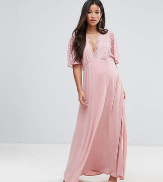 Queen Bee Maternity Lace Kimono Maxi Dress