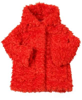 Kenzo Hooded Faux Fur Shearling Coat