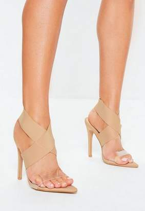 cd8f4104fc77 Missguided Nude Elasticated Strap Pointed Toe Heel Sandals