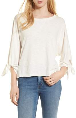 Splendid Tie Sleeve Slub Cotton Tee