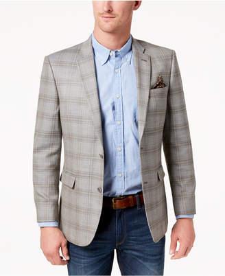 Tommy Hilfiger Men's Modern-Fit Gray/Tan Plaid Sharkskin Silk and Wool Sport Coat