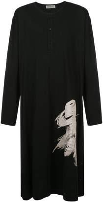 Yohji Yamamoto graphic print long henley top