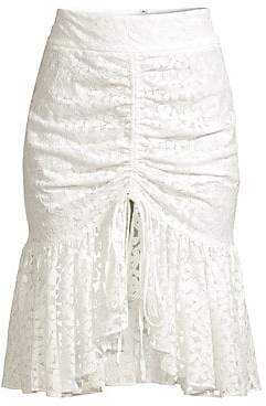 Milly Women's Brittany Gathered Floral Lace Skirt - Size 0