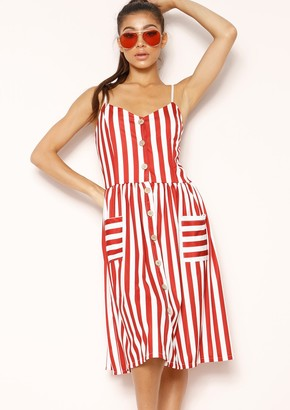 d86592560e Missy Empire Missyempire Tammy Red Stripe Wooden Button Dress