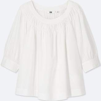 Uniqlo Women's Soft Cotton Gathered 3/4 Sleeve Blouse