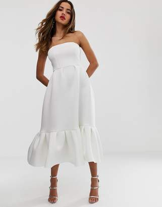 Asos Design DESIGN bandeau midi dress with ruffle pep hem