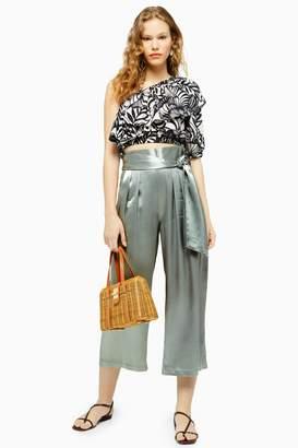 Topshop Satin Crop Wide Leg Trousers
