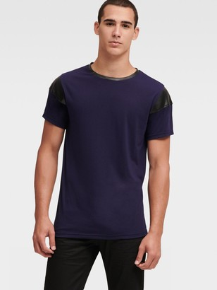 DKNY Tee With Faux-Leather Trim