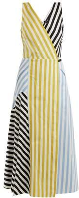 Anna October - Contrast Striped Cotton Dress - Womens - Blue Multi