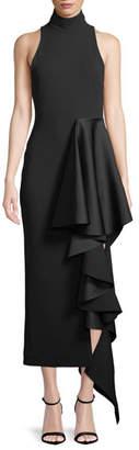 SOLACE London Lara Mock-Neck Sleeveless Crepe Cocktail Dress w/ Drape Detail