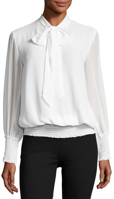 Max Studio Long-Sleeve Smocked-Trim Tie-Neck Blouse $59 thestylecure.com