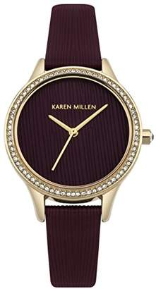 Karen Millen Women's Quartz Gold-Tone and Leather Casual Watch