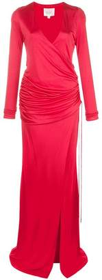 Galvan deep v-neck gown