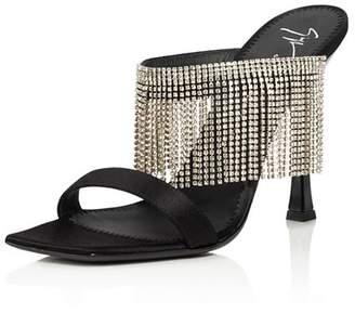 Giuseppe Zanotti Women's Asymmetrical Toe Crystal Fringe High-Heel Slide Sandals
