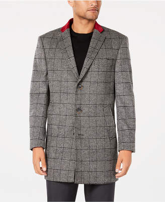 Tallia Men's Slim-Fit Black/White Plaid Overcoat with Velvet Trim