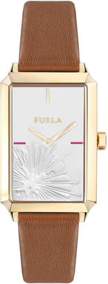 Furla 32mm Diana Rectangular Watch w/ Leather Strap, Tan