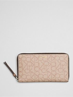 Calvin KleinCalvin Klein Womens Tina Monogram Zip Wallet Neutral Monogram