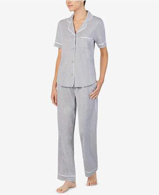 DKNY Logo Contrast-Trim Knit Pajama Set