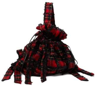 Simone Rocha Lurex Wool Tartan Backpack - Womens - Black Red