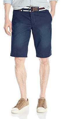 """Jet Lag Men's Belted 12"""" Flat Front Woven Washed Short"""