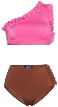 Leslie Amon Tamini Ruffle One-Shoulder High Waist Bikini