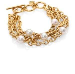 Majorica 10MM White Pearl Multi-Row Link Bracelet