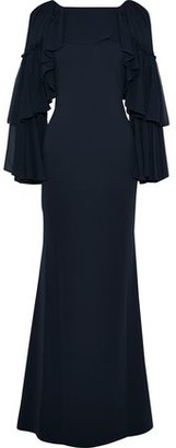 Badgley Mischka Tiered Paneled Cady And Chiffon Gown