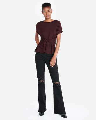Express Ribbed Tie Waist Tee