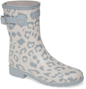 Hunter Leopard Print Refined Short Waterproof Rain Boot