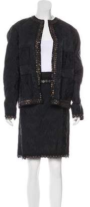 Lanvin Embellished Jacquard Skirt Suit