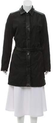Prada Knee-Length Leather-Accented Coat