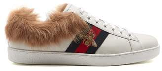 Gucci Ace Bee Embroidered Wool And Leather Trainers - Womens - White Multi