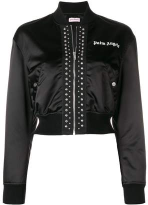 Palm Angels cropped satin bomber jacket