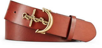 Ralph Lauren Leather Anchor-Buckle Belt