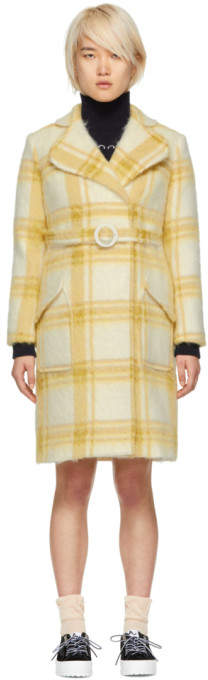 Off-White and Yellow Check Mohair Belted Coat