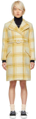 ALEXACHUNG Off-White and Yellow Check Mohair Belted Coat