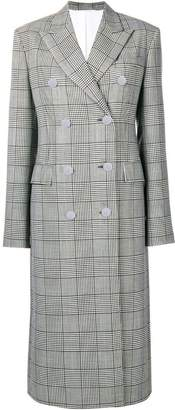 Calvin Klein checked double breasted coat
