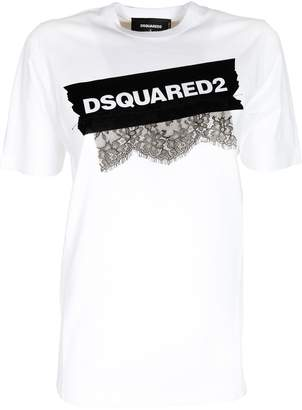 DSQUARED2 Lace Applique Logo T-shirt