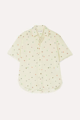 Saint Laurent Frayed Printed Cotton-voile Shirt - Cream